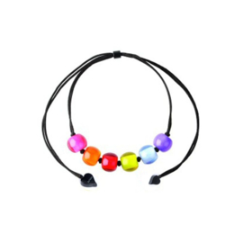 ZSISKA ketting multi colour 6 kralen SPECTRUM BALL'S.