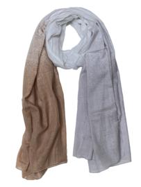 A-Zone  sjaal degrade print grijs wit beige katoen 100x180cm