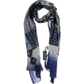 A-zone scarf navy white patchwork,  Cotton 55 x 180cm