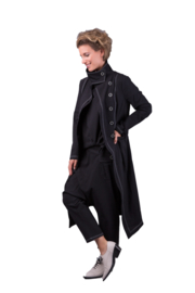 ELSEWHERE long summer coat -  ANNA  black, Linen