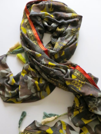 ROMANO scarf khaky green grey abstract print with tassels. 90x200 cm