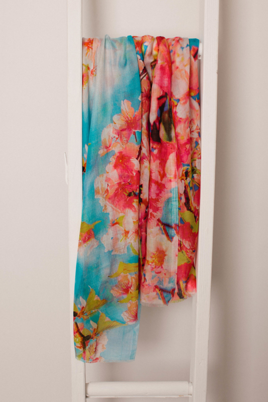 Jo Edwards sjaal Japanse bloedprint, Modal - Cashmere, 70x180cm