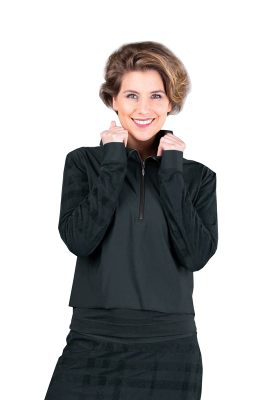 ELSEWHERE top travel jersey mesh zwart STYLE 3311