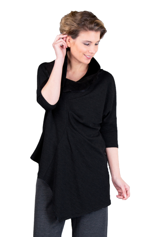 ELSEWHERE top honingraad jersey zwart STYLE 3335