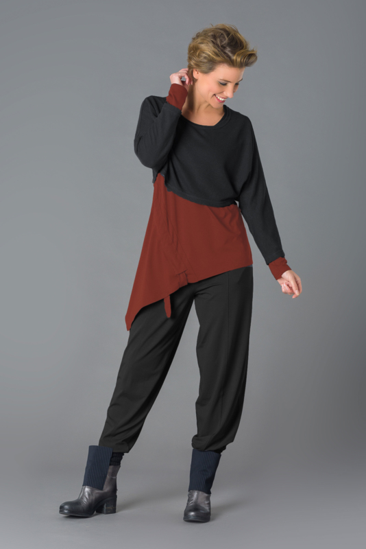 ELSEWHERE top, spicy brique jersey, asymmetric. STYLE 3163