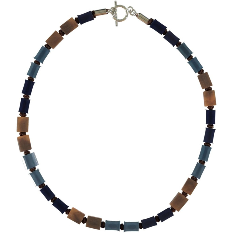 ZSISKA necklace navy brown multi col. short CUBES