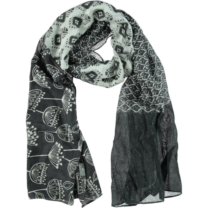 AHMADDY sjaal grijs wit print zijde-katoen 70/30%, 115 x 230 cm