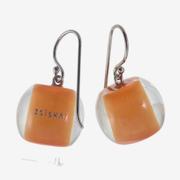 ZSISKA oorbellen oranje licht COLOURFUL BEADS