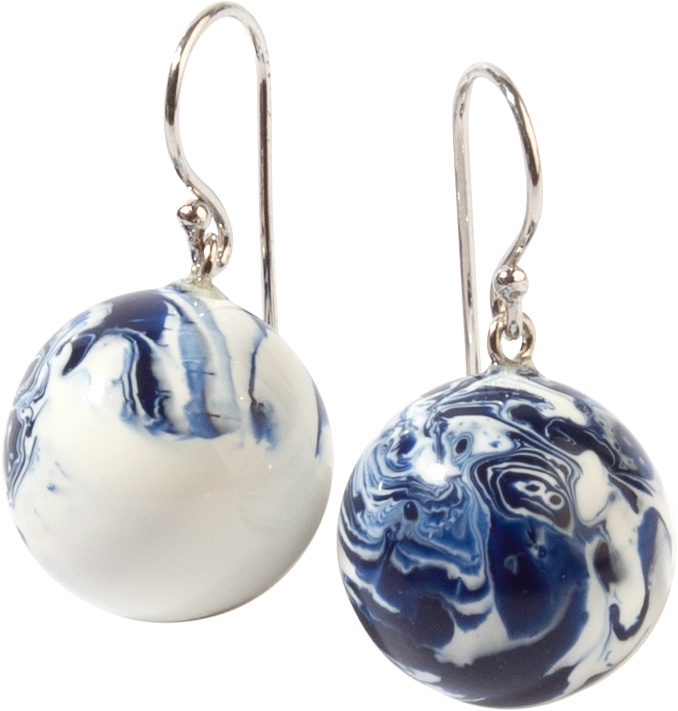 ZSISKA earrings DELFT BLUE white , BOLAS DELFT