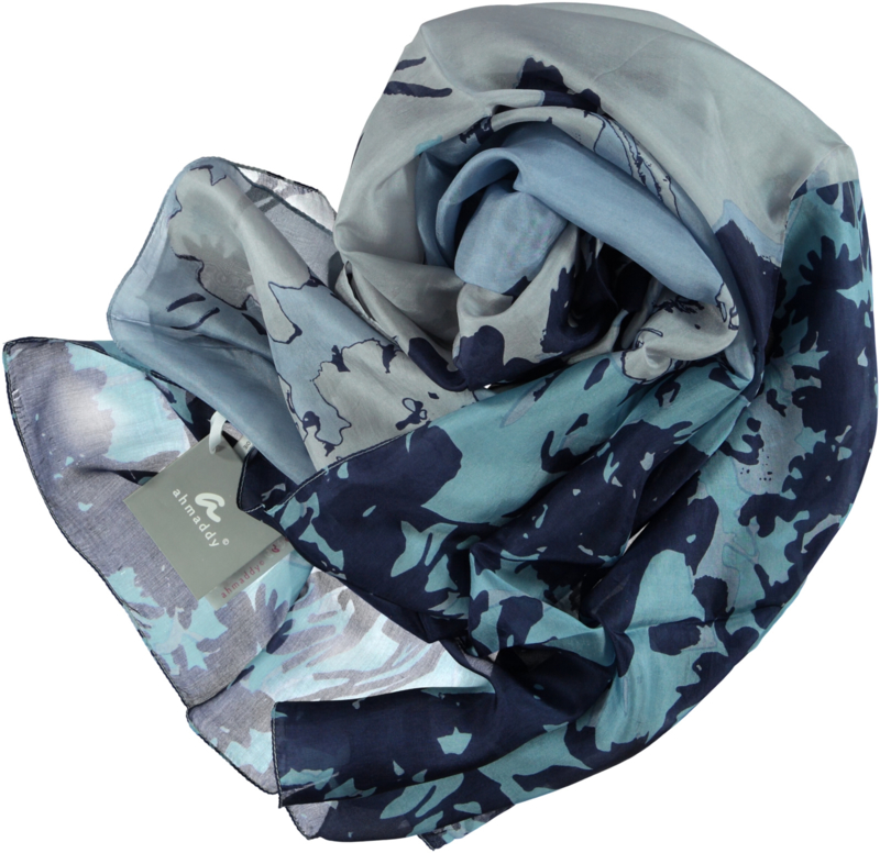 AHMADDY scarf navy blue abstract flower print 100% zijde, 105 x 200cm