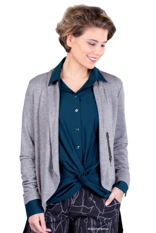 ELSEWHERE blouse travel jersey petrol STYLE 3347