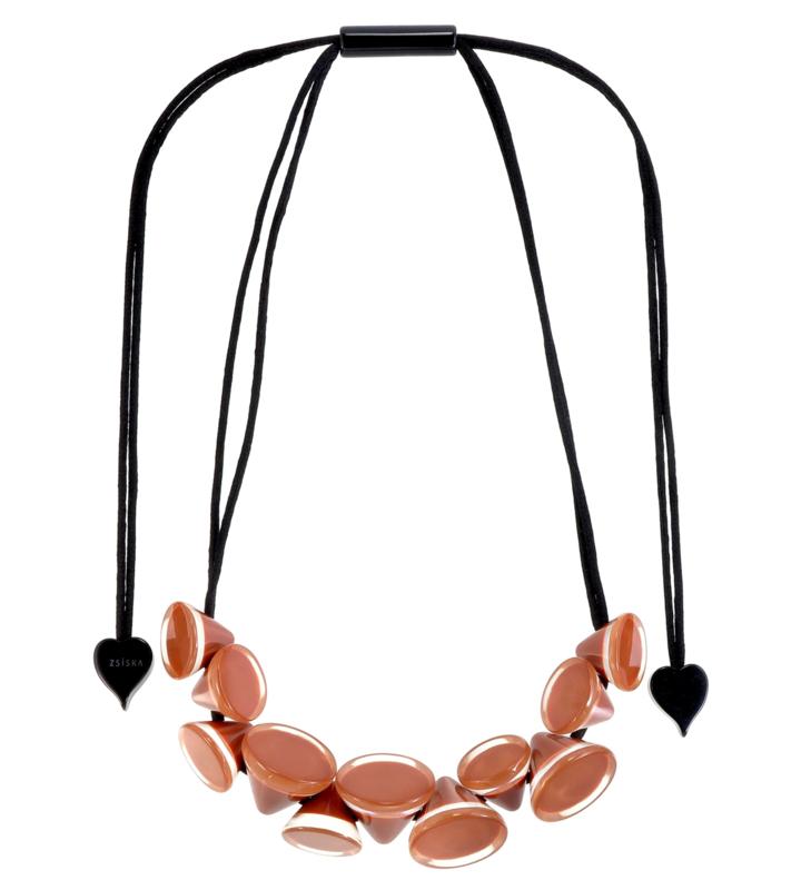 ZSISKA necklace brown -  cappuccino, 11 conical beads. NANA