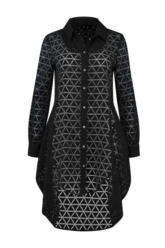 ELSEWHERE lange blouse JETT transparant - zwart