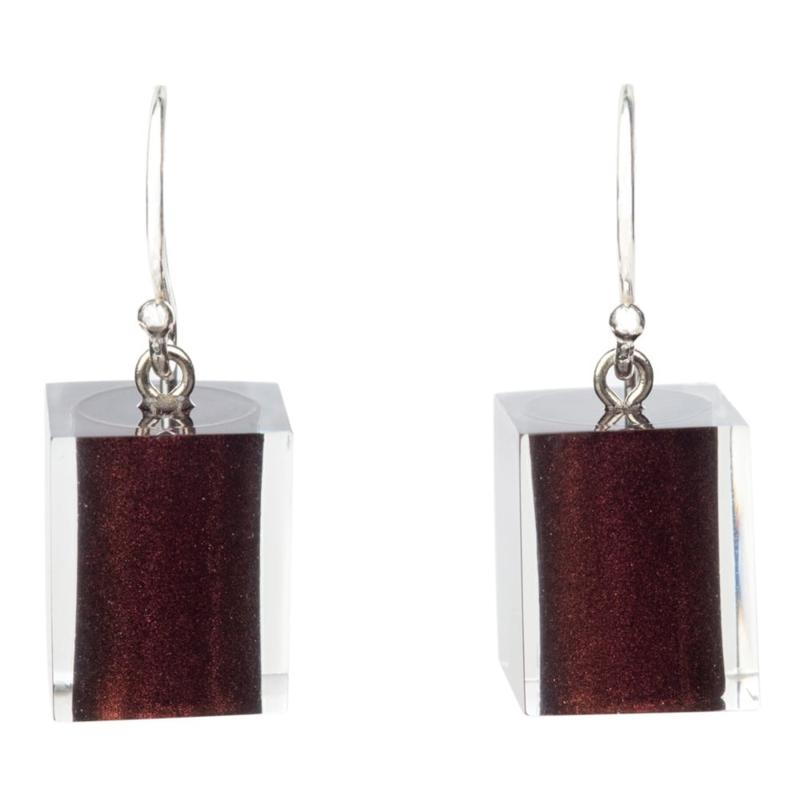 ZSISKA earrings brown CUBES