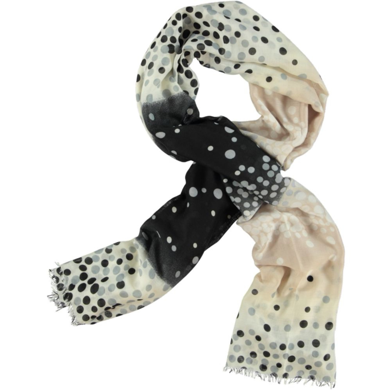 Sjaal stippen zwart offwhite beige, voile. 80x180cm