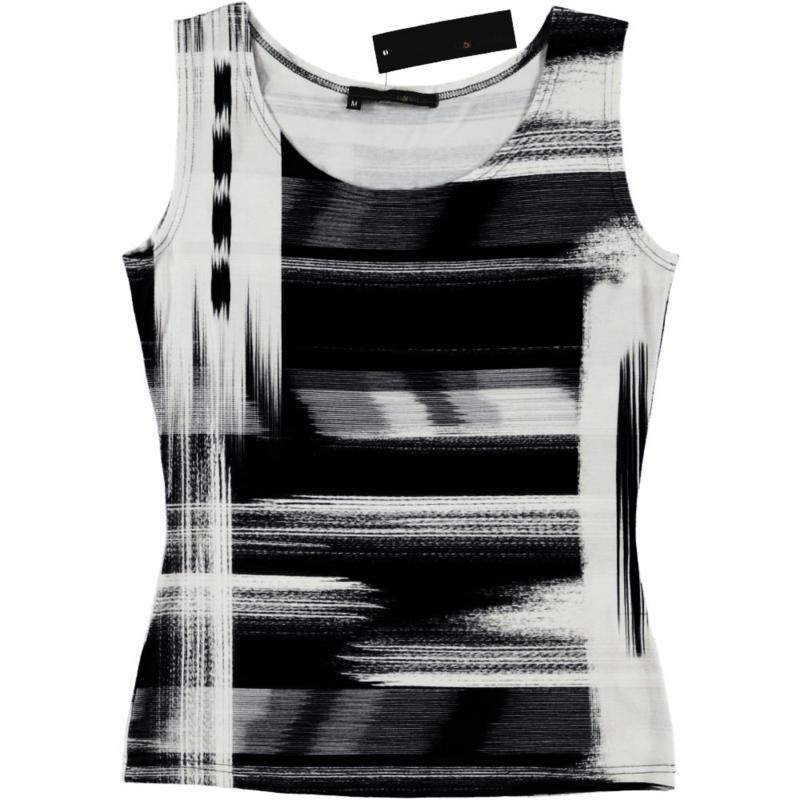 ELSEWHERE top mouwloos jersey zwart print 601B2