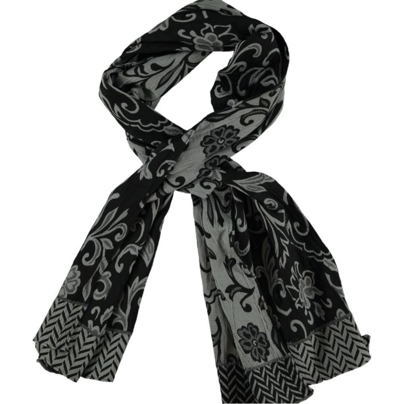 ROMANO sjaal zwart grijs bloem doubleface