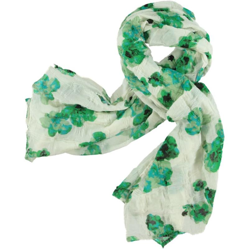 A-Zone sjaal wit met groene bloem print, batist, 100x180cm