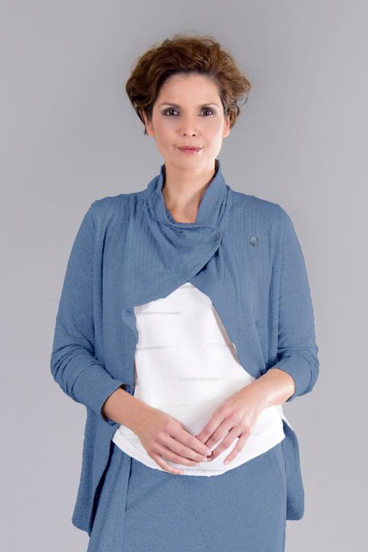 ELSEWHERE jasje reliëf jersey denim blue STYLE 3247