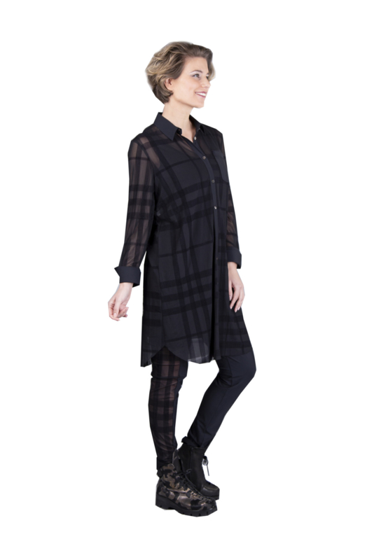 ELSEWHERE blouse ruit mesh zwart STYLE 3313