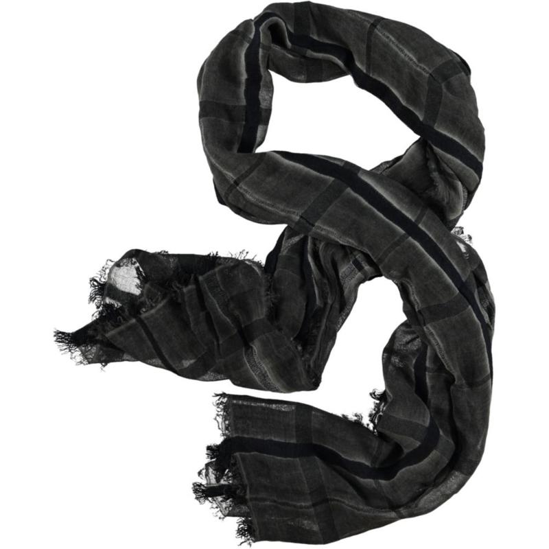D&A sjaal in een grijs blauw ruit je- cold dye , 80 x 180cm