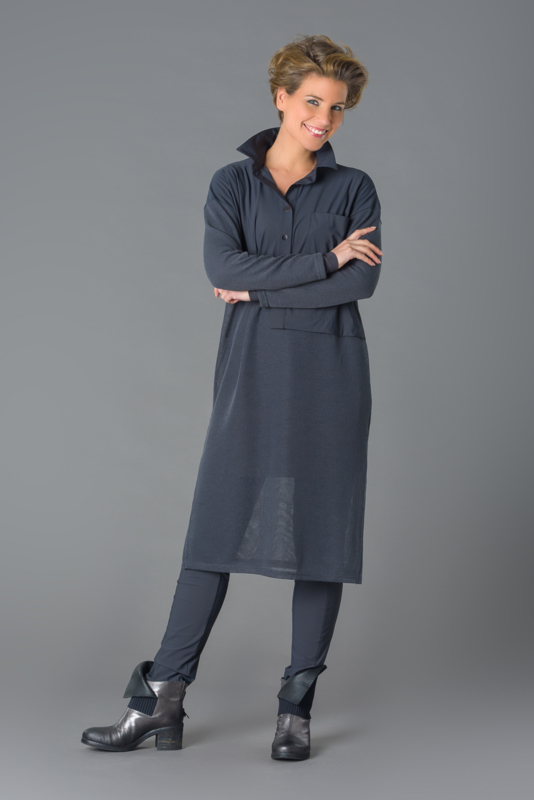 ELSEWHERE tuniek blouse mesh knit & tech jersey, polo grijs. STYLE 3132