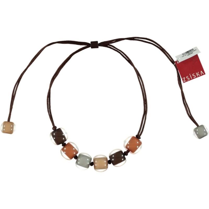 ZSISKA necklace brown grey cognac camel, BALL'S