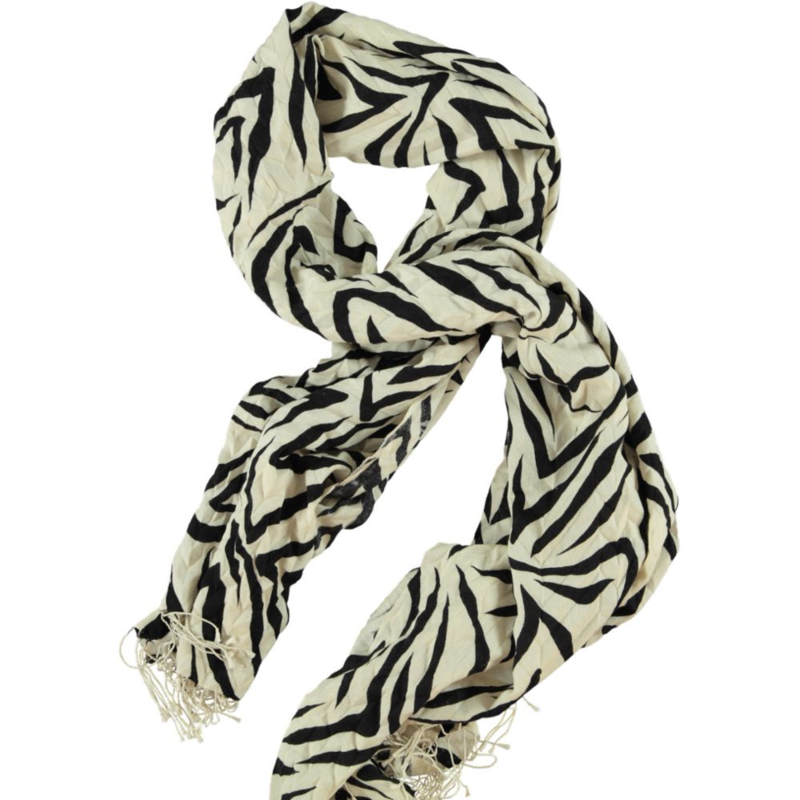 Wintersjaal offwhite bedrukt zwart abstracte zebra.