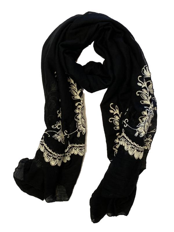 ROMANO sjaal zwart offwhite borduur rand, 70x180 cm