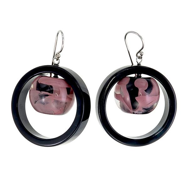 ZSISKA oorbellen roze dusty zwart SATURN.