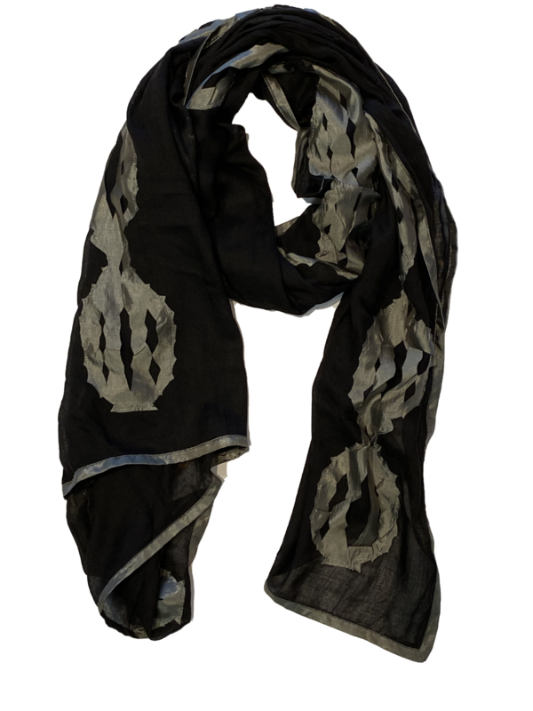 SILK ROUTE sjaal zwart abstract