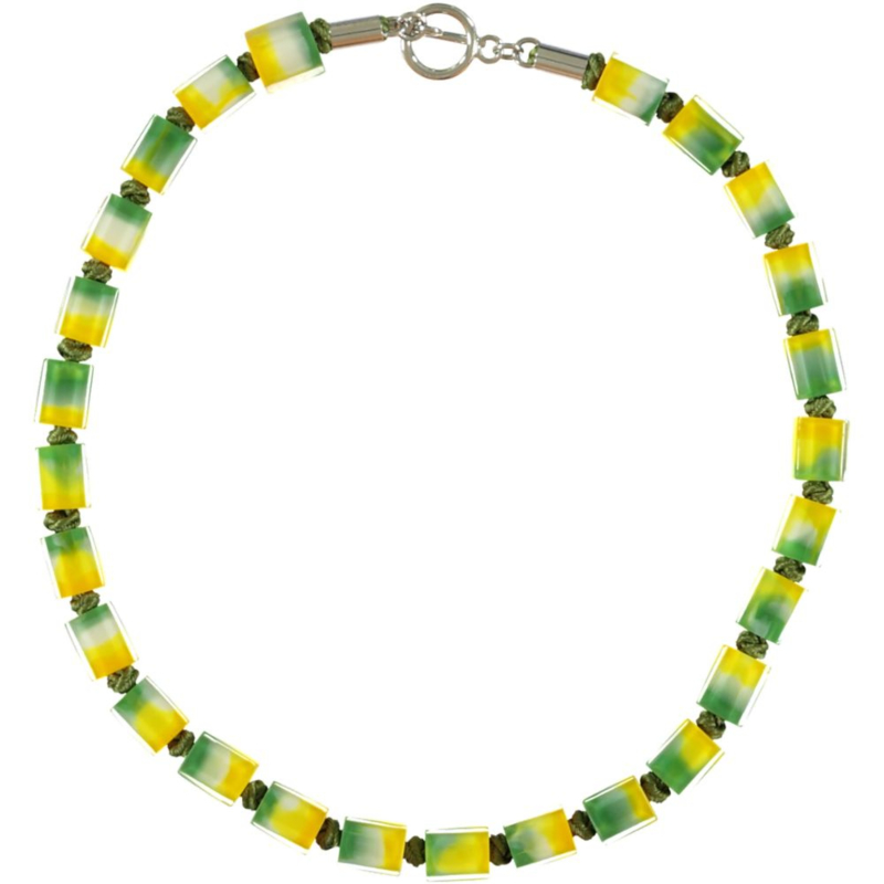 ZSISKA necklace yellow green choker CUBES