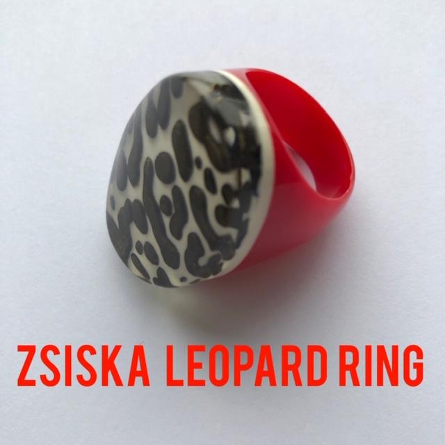 ZSISKA ring red brown LEOPARD