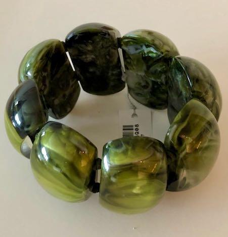 ZSISKA armband groen gemarmerd ovale kraal  size S/M. CLARITY.