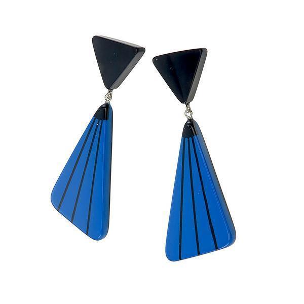 ZSISKA oorbellen blauw zwart FLAMENCO.