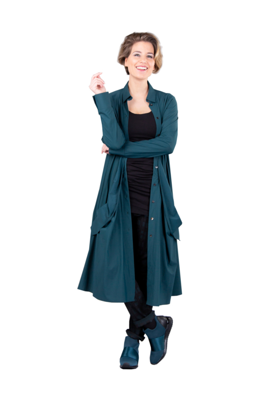ELSEWHERE jurk travel jersey petrol STYLE 3351