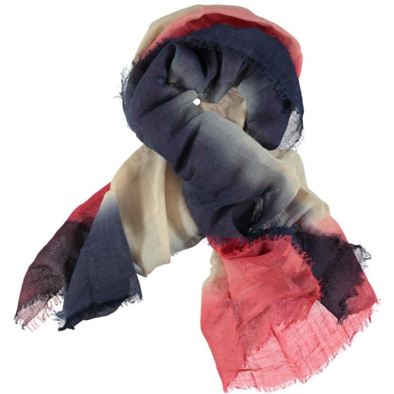 ROMANO sjaal rood beige degrade linnen, 90x180cm