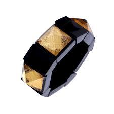 ZSISKA armband zwart bladgoud, elastiek. Art DECO.