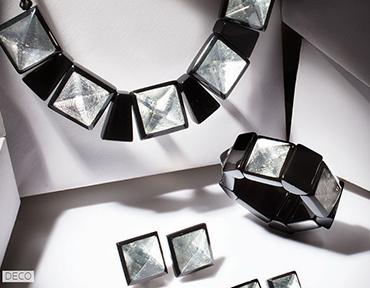ZSISKA ketting zilver zwart Art DECO.