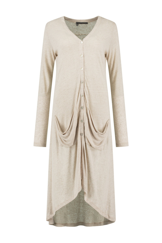 ELSEWHERE lang vest LOIS - naturel linnen jersey