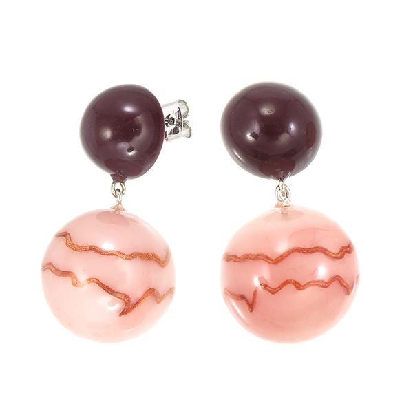 ZSISKA earrings pink dusty brown, studs. CELESTE.