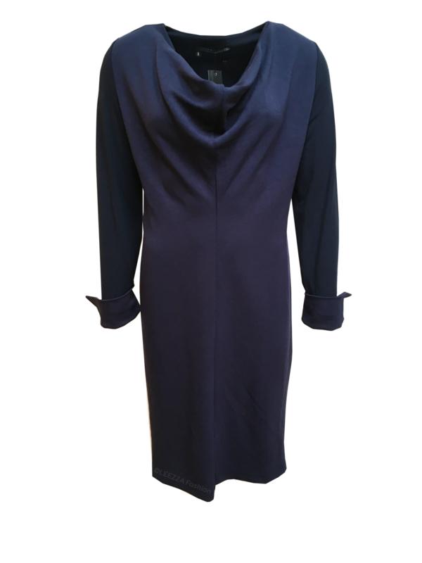 ELSEWHERE jurk,  night blue jersey omslag manchet. STYLE 3120