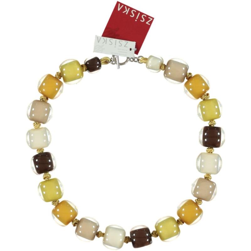 ZSISKA necklace yellow black beige 19 mm. T-bar. BALL'S