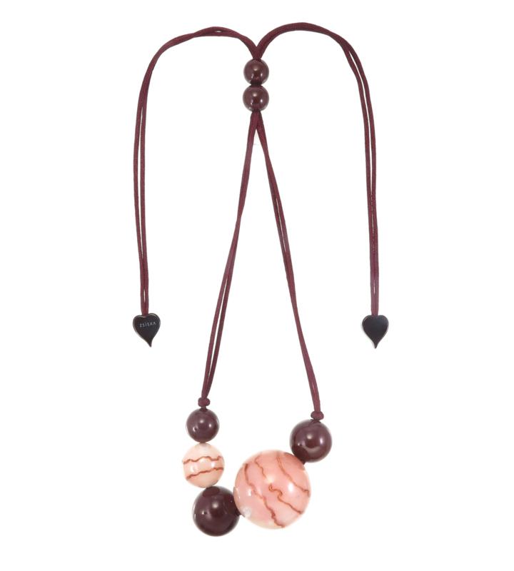 ZSISKA necklace pink dusty - brown, 7 beads. CELESTE