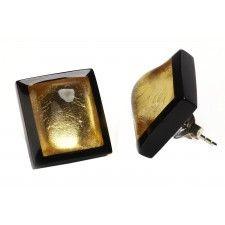 ZSISKA oorbellen goud zwart. DECO.