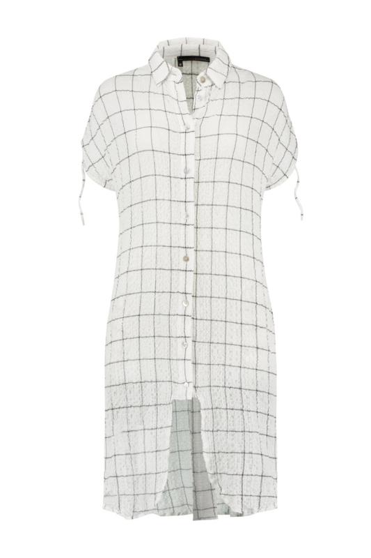 ELSEWHERE lange blouse MARIA - wit zwart ruit