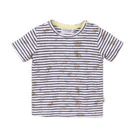 Dirkje - T-Shirt Navy + Stripe + AOP
