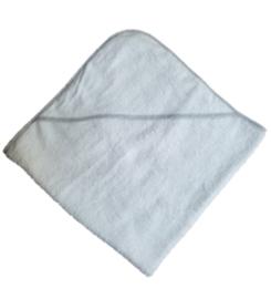Badcape Badstof - Wit met grijze rand