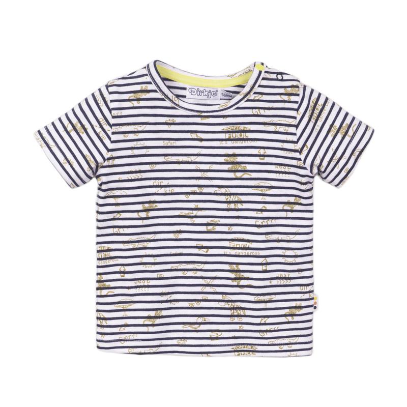 Dirkje - T-Shirt Navy + Stripe + AOP