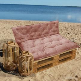 HOOMstyle Mimi palletkussen fluweel - rood roze - 120x40cm - 1 stuk - rug